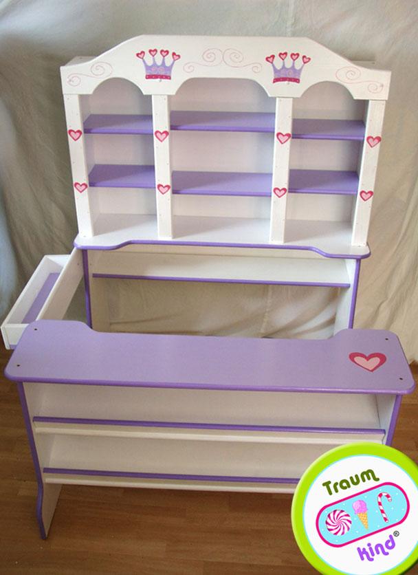 prinzessin kinderkaufladen kaufladen kaufmannsladen holz wei rosa mit glitzer ebay. Black Bedroom Furniture Sets. Home Design Ideas
